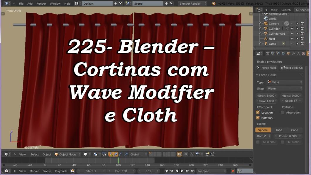 225- Blender – Cortinas com Wave Modifier e Cloth